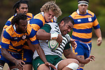Jieri Cagica & Troy Abernethy wrestle Kitiona Viliamu to ground. Counties Manukau Premier Club Rugby game between Manurewa and Patumahoe played at Mountfort Park Manurewa on Saturday 3rd April 2010..Patumahoe won 26 - 8 after leading 14 - 3 at halftime.