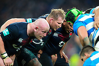 The England front row of Dan Cole, Dylan Hartley and Mako Vunipola prepare to scrummage. Old Mutual Wealth Series International match between England and Argentina on November 26, 2016 at Twickenham Stadium in London, England. Photo by: Patrick Khachfe / Onside Images