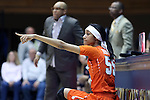 10 February 2017: Syracuse's Bria Day (55) waits to check into the game. The Duke University Blue Devils hosted the Syracuse University Orange at Cameron Indoor Stadium in Durham, North Carolina in a 2016-17 Division I Women's Basketball game. Duke won the game 72-55.
