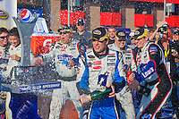 Oct. 11, 2009. Auto Club Speedway, CA: Jimmy Johnson celebrates his victory in the Pepsi 500.