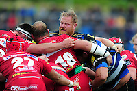 Ross Batty of Bath Rugby in action at a scrum. Pre-season friendly match, between the Scarlets and Bath Rugby on August 20, 2016 at Eirias Park in Colwyn Bay, Wales. Photo by: Patrick Khachfe / Onside Images