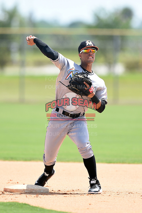 GCL Marlins second baseman Iramis Olivencia (1) during practice before a game against the GCL Nationals on June 28, 2014 at the Carl Barger Training Complex in Viera, Florida.  GCL Nationals defeated the GCL Marlins 5-0.  (Mike Janes/Four Seam Images)