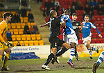 St Johnstone v Celtic.....19.02.13      SPL.Kelvin Wilson gets a grip on Gregory Tade in the box but ref Euan Norris waved away the penalty claim.Picture by Graeme Hart..Copyright Perthshire Picture Agency.Tel: 01738 623350  Mobile: 07990 594431