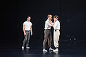 "London, UK. 15.04.2014. HeadSpaceDance present IF PLAY IS PLAY..., a triple bill of new work, in the Linbury Studio, Royal Opera House, London. Picture shows: Clemmie Sveaas, Christopher Akrill and Jonathan Goddard, in ""Before the Interval"" by Luca Silvestrini.  Photograph © Jane Hobson."