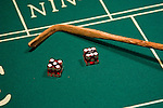Craps gambling at Las Vegas, Nevada, Caesars Palace and Casino, gaming, gambling, craps, craps stick, craps table, dice, die, NV, Las Vegas, Photo nv219-16878..Copyright: Lee Foster, www.fostertravel.com, 510-549-2202,lee@fostertravel.com