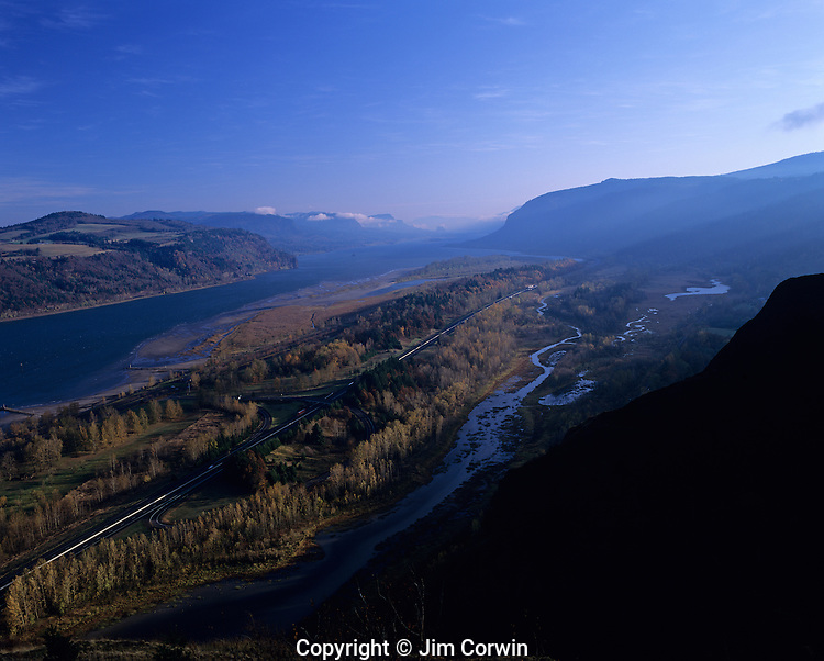 Columbia River Gorge National Scenic Area looking east from Crown Point on the Oregon side with fall colors sunrise and highway 84 Oregon State USA