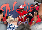 28 February 2017: Washington Nationals Manager Dusty Baker addresses the media in the dugout prior to the inaugural Spring Training game between the Washington Nationals and the Houston Astros at the Ballpark of the Palm Beaches in West Palm Beach, Florida. The Nationals defeated the Astros 4-3 in Grapefruit League play. Mandatory Credit: Ed Wolfstein Photo *** RAW (NEF) Image File Available ***