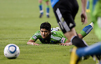 Fredy Montero watches the ball. The Seattle Sounders defeated the San Jose Earthquakes 1-0 in the second annual Heritage Cup at Buckshaw Stadium in Santa Clara, California on July 31st, 2010.