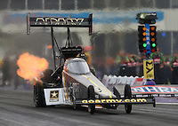 Apr 29, 2016; Baytown, TX, USA; NHRA top fuel driver Tony Schumacher during qualifying for the Spring Nationals at Royal Purple Raceway. Mandatory Credit: Mark J. Rebilas-USA TODAY Sports