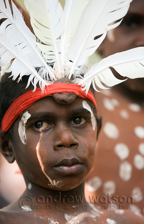 Young dancer from the Aurukun community at the Laura Aboriginal Dance Festival.  Laura, Queensland, Australia