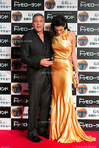 (R to L) American actor, writer, producer and director George Clooney and his wife Amal Clooney pose for the cameras during the Japan premiere for the film ''Tomorrowland'' in Roppongi Hills Arena on May 25, 2015, Tokyo, Japan. Clooney visited Japan for the first time in eight years with his wife Amal. The movie hits the theaters across Japan on June 6th. (Photo by Rodrigo Reyes Marin/Walt Disney Studio Japan/AFLO)