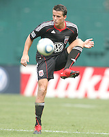 Marc Burch #4 of D.C. United pulls in a high ball during an MLS match against the Philadelphia Union at RFK Stadium on August 22 2010, in Washington DC. United won 2-0.