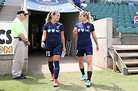 Cary, North Carolina  - Sunday May 21, 2017: Meredith Speck and McCall Zerboni prior to a regular season National Women's Soccer League (NWSL) match between the North Carolina Courage and the Chicago Red Stars at Sahlen's Stadium at WakeMed Soccer Park. Chicago won the game 3-1.