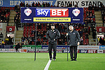 Rotherham 1 Sheffield Wednesday 2, 23/10/2015. New York Stadium, Championship. Second-half goals from Lucas Joao and Fernando Forestieri gave Sheffield Wednesday a derby victory at Rotherham. Two men holding a Skybet advertising placard in the centre circle of The New York Stadium. Photo by Paul Thompson.