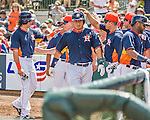 22 March 2015: Houston Astros catcher Hank Conger returns to the dugout after scoring in a Spring Training game against the Pittsburgh Pirates at Osceola County Stadium in Kissimmee, Florida. The Astros defeated the Pirates 14-2 in Grapefruit League play. Mandatory Credit: Ed Wolfstein Photo *** RAW (NEF) Image File Available ***