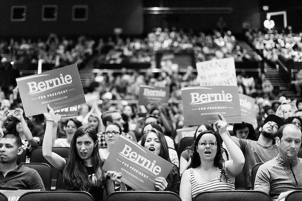 March 11, 2016. Raleigh, North Carolina.<br />  Democratic presidential candidate Bernie Sanders held a rally at Raleigh's Memorial Auditorium days before the North Carolina primary. Although behind in the polls to Hillary Clinton, thousands of supporters showed up for the rally with hundreds forced to wait outside.