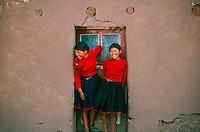 Girls in native costume, Taquile Island, Lake Titicaca, Peru