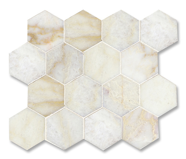 7 cm Hex shown in polished Cloud Nine is part of New Ravenna's Studio Line of ready to ship mosaics.
