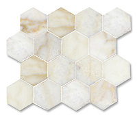 7 cm Hex shown in polished Cloud Nine is part of New Ravenna's Studio Line. All mosaics in this collection are ready to ship within 48 hours.<br />