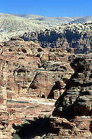 Jordan. Petra. The archeological site is part of the UNESCO world heritage project.  The Nabataeans were an arabian industrious tribe which settled down in southern Jordan 2000 years ago. Petra is located at the bottom of a spectacular deep gorge surrounded by mountains. The new modern Petra is located on the top of the mountains. © 2002 Didier Ruef