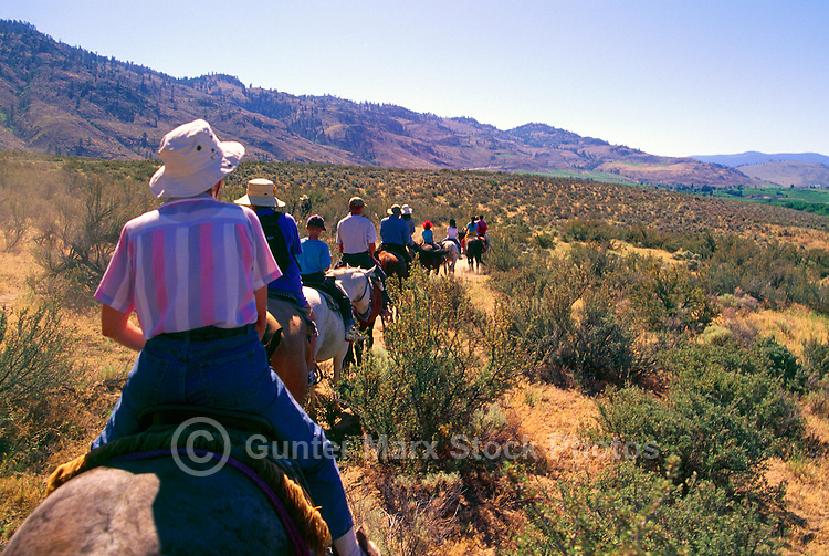 """Guided Horseback Riding Tour in """"Pocket Desert"""" near Osoyoos, BC, South Okanagan Valley, British Columbia, Canada - Model Released Person in foreground"""