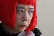 Japanese artist Yayoi Kusama, in her offices/studio,  Tokyo, Japan, on Wednesday, Oct. 18,  2006.