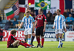 Dundee v St Johnstone...25.04.15   SPFL<br /> Greg Stewart is booked by ref Craig Thomson after bringing down Murray Davidson<br /> Picture by Graeme Hart.<br /> Copyright Perthshire Picture Agency<br /> Tel: 01738 623350  Mobile: 07990 594431