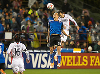 Santa Clara, California -Saturday, March 29, 2014: Steven Lenhart and A.J Soares of NE Revolution jump for the ball during a match at Buck Shaw Stadium. Final Score: SJ Earthquakes 1, NE Revolution 2