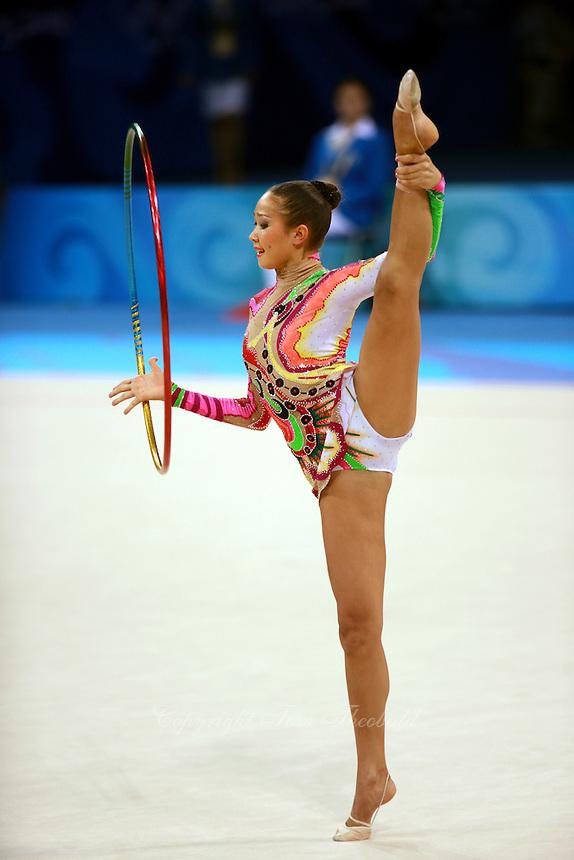 August 23, 2008; Beijing, China; Rhythmic gymnast Aliya Garaeva of Azerbaijan performs with hoop on way to placing 6th in the Individual All-Around final at 2008 Beijing Olympics..