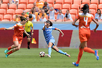 Houston, TX - Saturday April 15, 2017: Christen Press attempts to dribble the ball around Cari Roccaro  during a regular season National Women's Soccer League (NWSL) match won by the Houston Dash 2-0 over the Chicago Red Stars at BBVA Compass Stadium.
