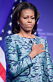 United States First Lady Michele Obama listens to the national anthem at the groundbreaking ceremony of the Smithsonian National Museum of African American History and Culture in Washington, D.C. on Wednesday, February 22, 2012. The museum is scheduled to open in 2015 and will be the only national museum devoted exclusively to the documentation of African American life, art, history and culture. .Credit: Andrew Harrer / Pool via CNP