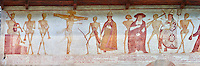 The Church of San Vigilio in Pinzolo and its fresco paintings &ldquo;Dance of Death&rdquo; painted by Simone Baschenis of Averaria in1539, Pinzolo, Trentino, Italy.<br />
