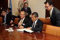 NEW YORK, USA - SEPT 23. Ollanta Humala president of Peru visits the Secretary general office during  69th United Nations General Assembly on September 23.2014 (photo by VIEWpress)