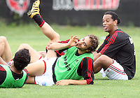 Andrea Pirla and Ronaldinho of AC Milan during a practice session at RFK practice facility in Washington DC on May 24 2010.