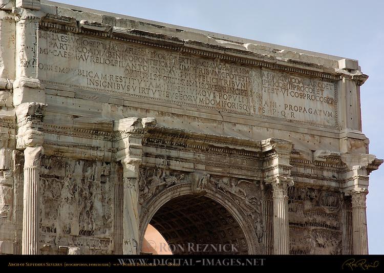 Arch of Septimius Severus 203 AD Inscription Detail Forum Side Forum Romanum Rome
