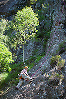 Rock climbing, free climbing on Black Crag, in the Lake District National Park, Cumbria, UK