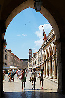 Stock photos of Placa (Stradum) - Main street in Dubrovnik  looking through main gate towards the Bell tower - Croatia