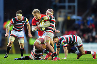 Jackson Wray of Saracens takes on the Leicester Tigers defence. Aviva Premiership match, between Leicester Tigers and Saracens on January 1, 2017 at Welford Road in Leicester, England. Photo by: Patrick Khachfe / JMP