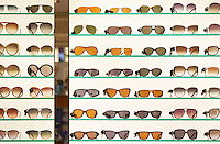 Sunglasses display in a Hampstead shop on Hampstead High Street, London