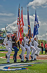 21 March 2015: An ROTC Color Guard presents arms prior to a Spring Training Split Squad game between the Washington Nationals and the Atlanta Braves at Champion Stadium at the ESPN Wide World of Sports Complex in Kissimmee, Florida. The Braves defeated the Nationals 5-2 in Grapefruit League play. Mandatory Credit: Ed Wolfstein Photo *** RAW (NEF) Image File Available ***