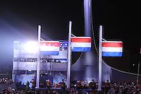 OLYMPICS: SOCHI: Medal Plaza, 17-02-2014, Ladies' 1500m, podium, Nederlandse vlaggen, olympische vlam, ©photo Martin de Jong