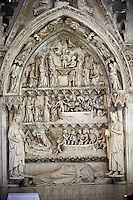 Tomb monument of Dagobert (603-639) King of all the Franks (629-634), of Austria and Neustria and Burgundy. Dagobert was the frist Frankish King  and the last Merovingian King being son of Clothar II. The Gothic Cathedral Basilica of Saint Denis ( Basilique Saint-Denis ) Paris, France. A UNESCO World Heritage Site.