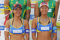 (L to R) Shinako Tanaka, Sayaka Mizoe, MAY 6, 2012 - Beach Volleyball : JBV Tour 2012 Sports Club NAS Open  Women's victory ceremony at Odaiba Beach, Tokyo, Japan. (Photo by Yusuke Nakanishi/AFLO SPORT) [1090]