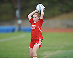 Oxford High vs. Lafayette High's Loura Varner (22) in girls high school soccer in Oxford, Miss. on Saturday, December 8, 2012. Oxford won 1-0.