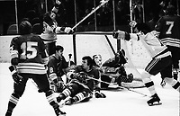California Golden Seals goal against the Detroit Red Wings 1974. Seals Joey Johnston and Reggie Leach celebrate over Red Wings Doug Roberts, Bryan Watson and goalie Dennis DeJordy. (photo by Ron Riesterer)