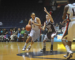 "Ole Miss' Shae Nelson (1) drives against Mississippi State's Mary Kathryn Govero (33) in a NCAA women's college basketball game at the C.M. ""Tad"" Smith in Oxford, Miss. on Thursday, February 10, 2011.   Mississippi State won 59-43.."