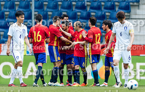 01.06.2016, Red Bull Arena, Salzburg, AUT, Testspiel, Spanien vs Suedkorea, im Bild Torjubel Spanien // Goal Celebration Spain during the International Friendly Match between Spain and South Korea at the Red Bull Arena in Salzburg, Austria on 2016/06/01. EXPA Pictures © 2016, PhotoCredit: EXPA/ JFK