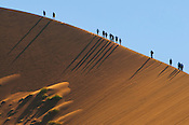 Hikers climbing sand dunes, Sossusvlei, Namib-Naukluft National Park, Namibia