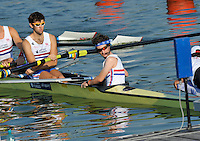Brest, Belarus.  GBR M8+, Cox Henry FIELDMAN, steers the eight onto the start pontoon  at the start.  2010. FISA U23 Championships. Friday,  23/07/2010.  [Mandatory Credit Peter Spurrier/ Intersport Images]