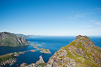 Tent camping on Reinebringen mountain peak, Reine, Lofoten islands, Norway